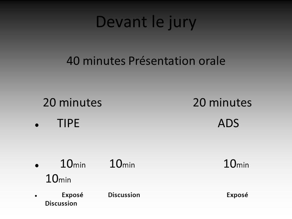 Devant le jury 40 minutes Présentation orale 20 minutes 20 minutes TIPE ADS 10 min 10 min 10 min 10 min Exposé Discussion Exposé Discussion