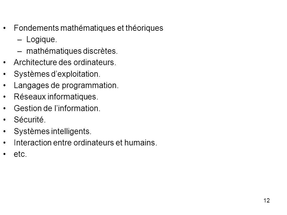 12 Fondements mathématiques et théoriques –Logique. –mathématiques discrètes. Architecture des ordinateurs. Systèmes dexploitation. Langages de progra