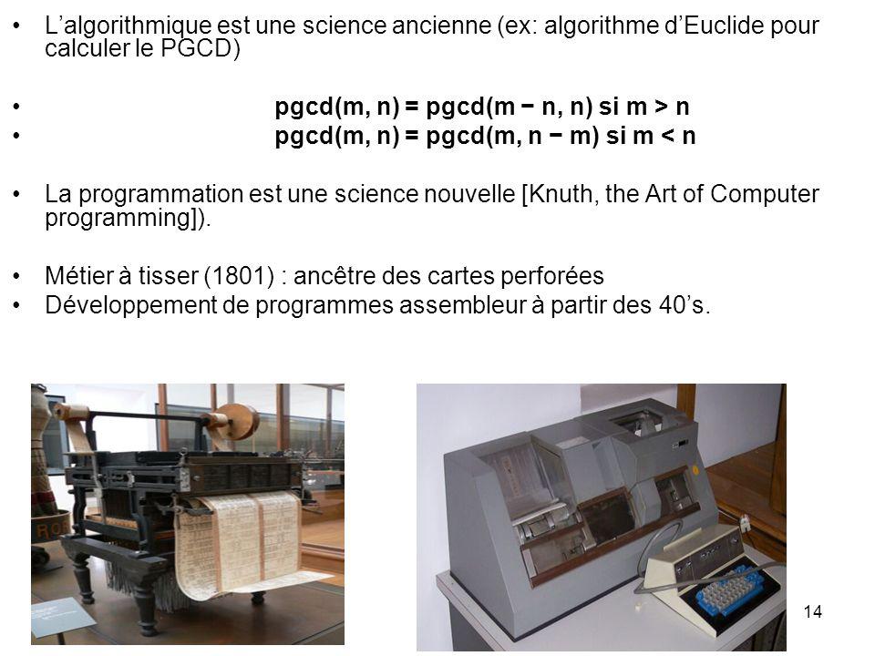 14 Lalgorithmique est une science ancienne (ex: algorithme dEuclide pour calculer le PGCD) pgcd(m, n) = pgcd(m n, n) si m > n pgcd(m, n) = pgcd(m, n m