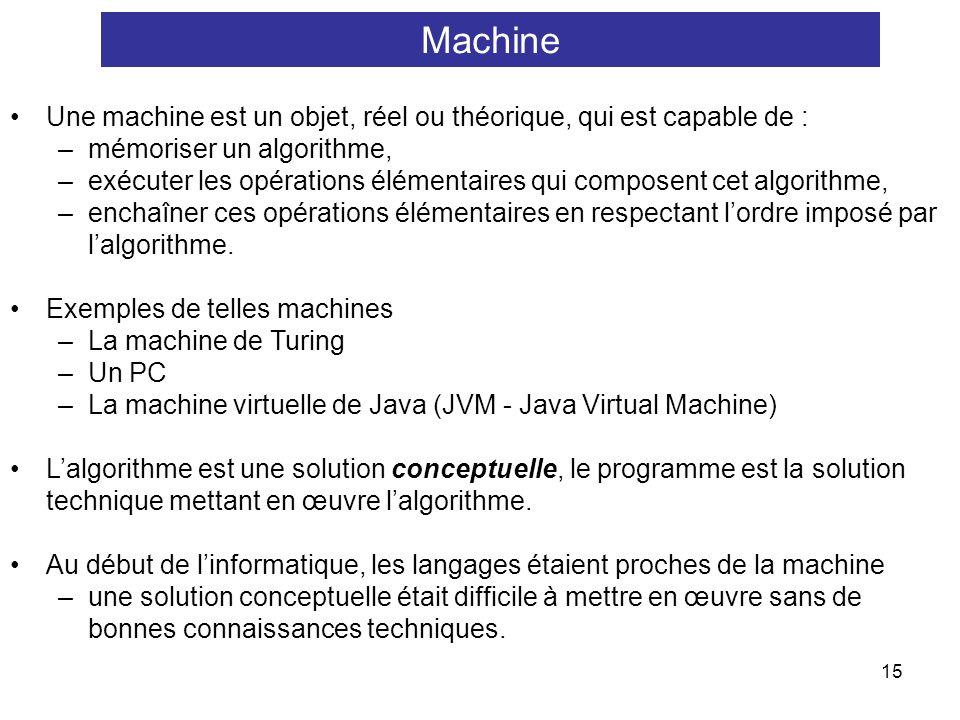 15 Une machine est un objet, réel ou théorique, qui est capable de : –mémoriser un algorithme, –exécuter les opérations élémentaires qui composent cet