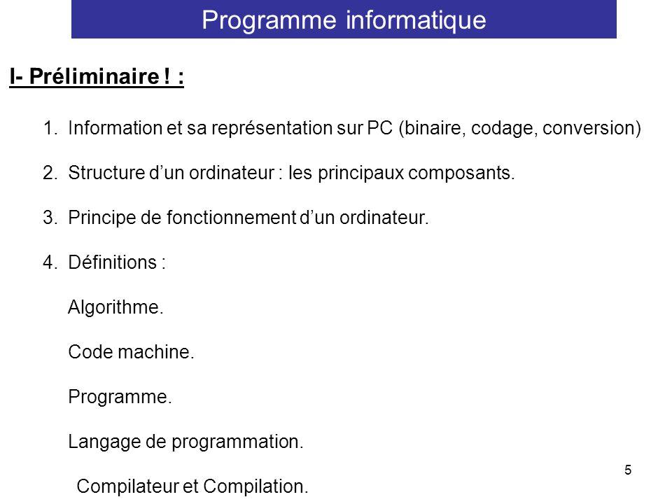 5 I- Préliminaire ! : 1.Information et sa représentation sur PC (binaire, codage, conversion) 2.Structure dun ordinateur : les principaux composants.