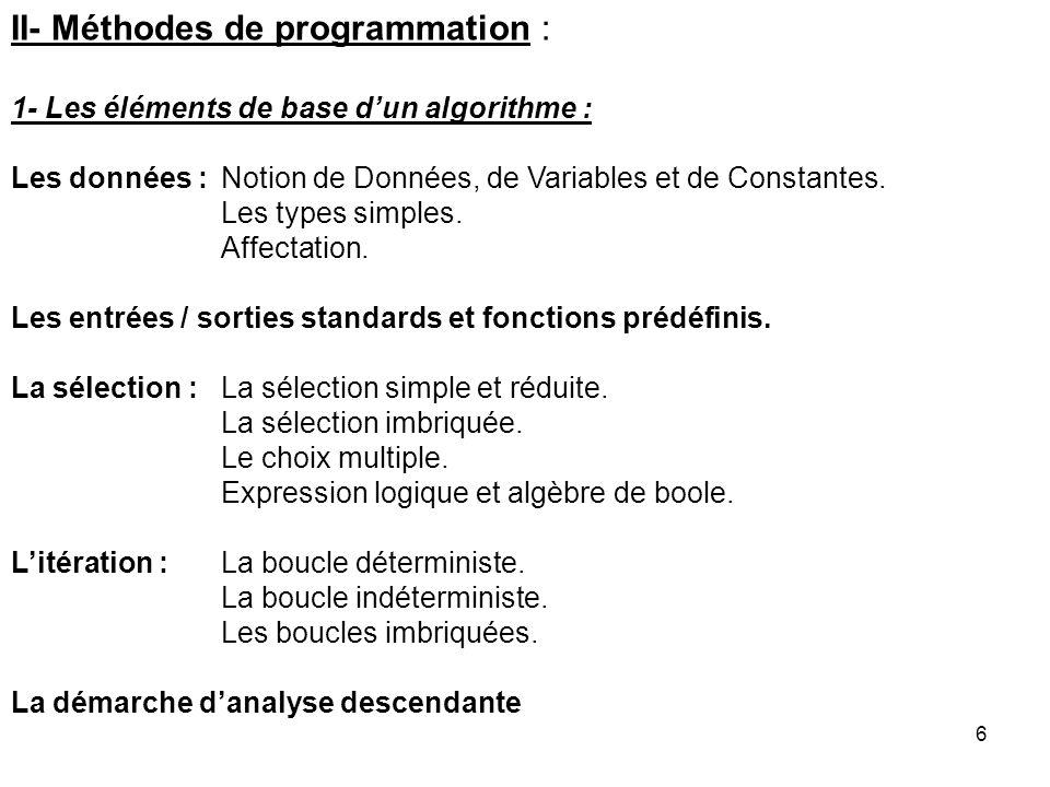 6 II- Méthodes de programmation : 1- Les éléments de base dun algorithme : Les données : Notion de Données, de Variables et de Constantes. Les types s