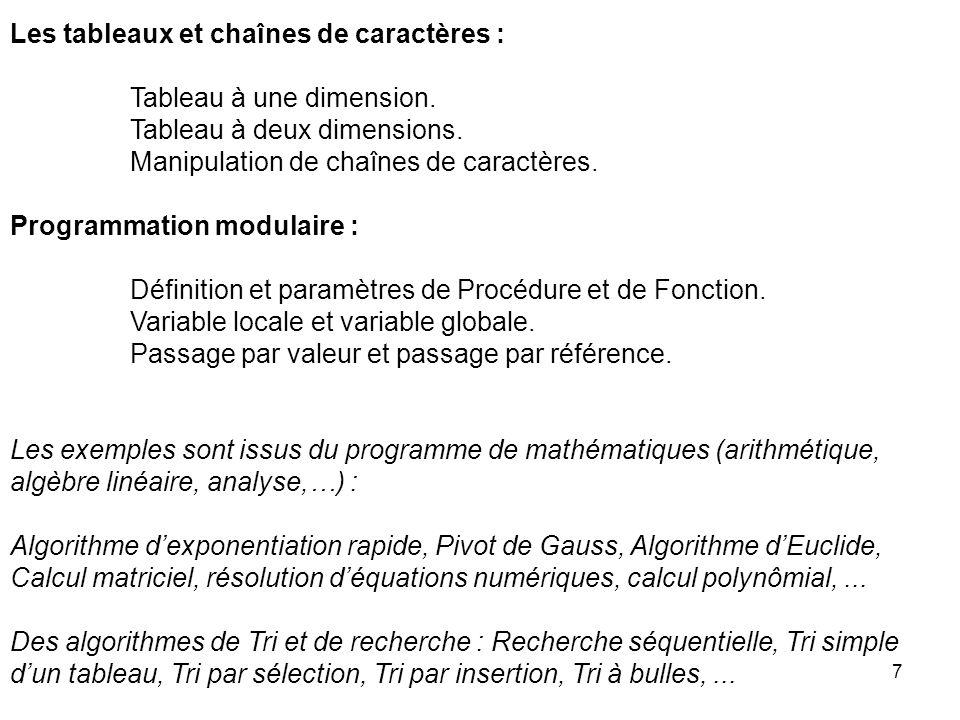 7 Les tableaux et chaînes de caractères : Tableau à une dimension. Tableau à deux dimensions. Manipulation de chaînes de caractères. Programmation mod