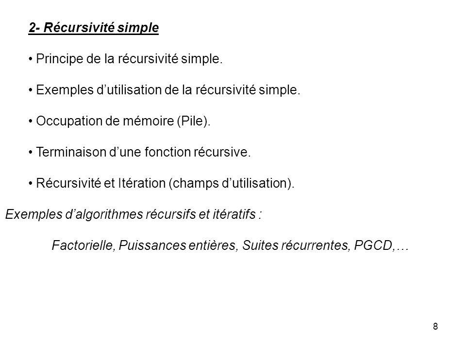 8 2- Récursivité simple Principe de la récursivité simple. Exemples dutilisation de la récursivité simple. Occupation de mémoire (Pile). Terminaison d