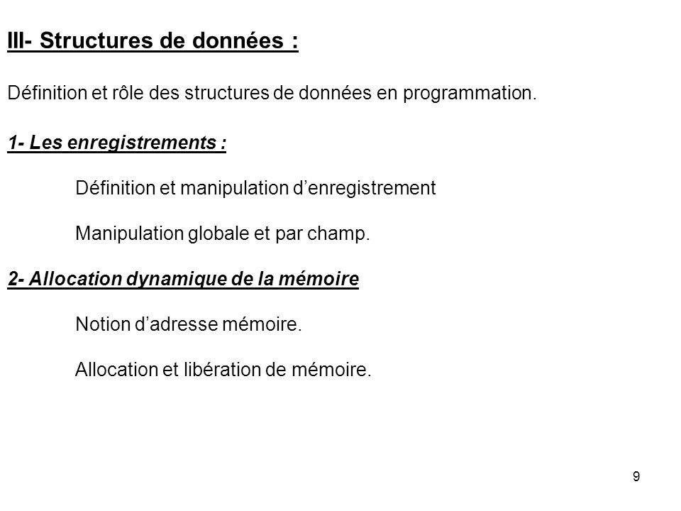 9 III- Structures de données : Définition et rôle des structures de données en programmation. 1- Les enregistrements : Définition et manipulation denr