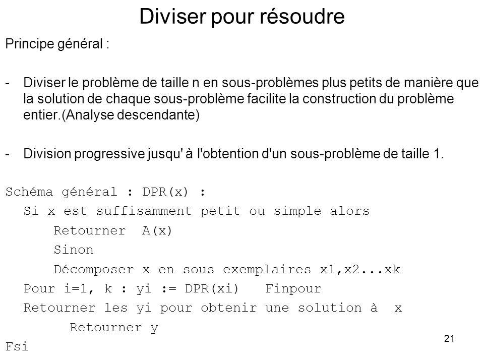 21 Diviser pour résoudre Principe général : -Diviser le problème de taille n en sous-problèmes plus petits de manière que la solution de chaque sous-p