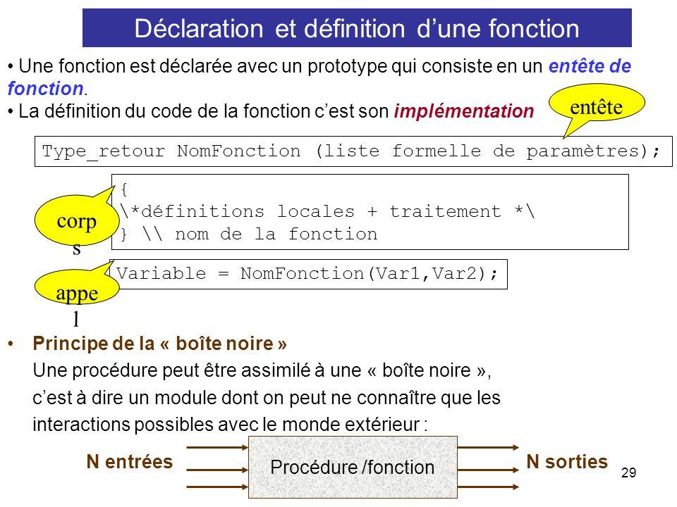 29 Une fonction est déclarée avec un prototype qui consiste en un entête de fonction. La définition du code de la fonction cest son implémentation Typ
