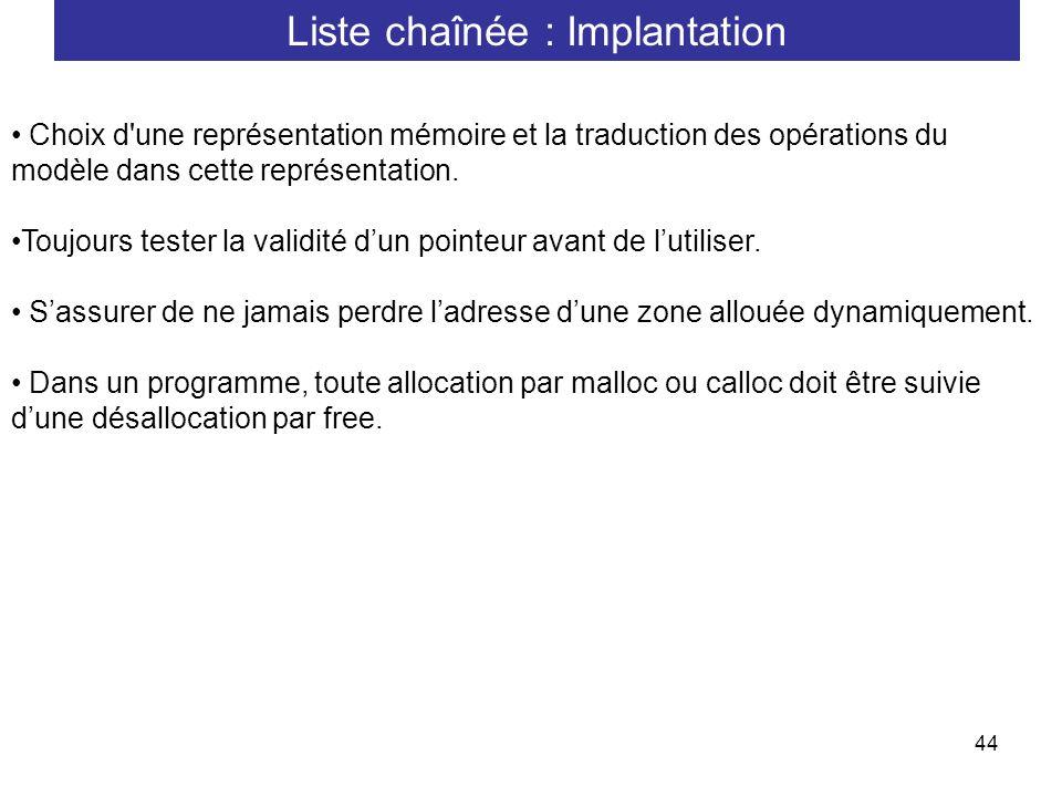 44 Choix d'une représentation mémoire et la traduction des opérations du modèle dans cette représentation. Toujours tester la validité dun pointeur av