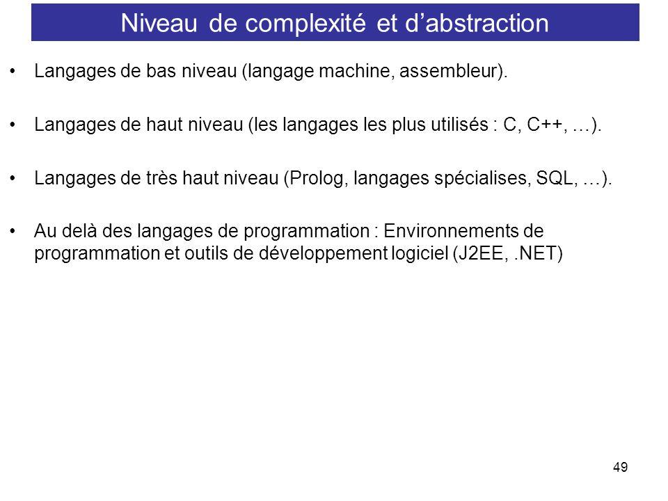 49 Langages de bas niveau (langage machine, assembleur). Langages de haut niveau (les langages les plus utilisés : C, C++, …). Langages de très haut n