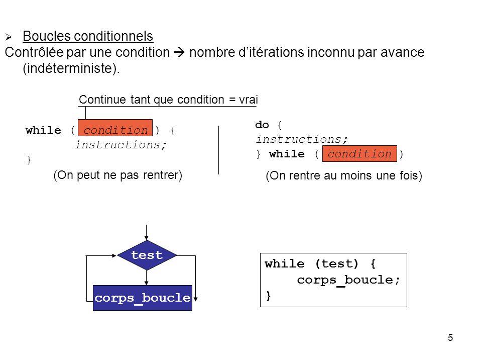 5 Boucles conditionnels Contrôlée par une condition nombre ditérations inconnu par avance (indéterministe). while ( condition ) { instructions; } Cont