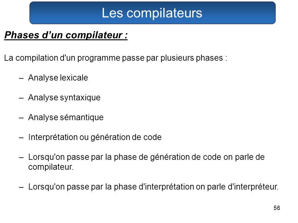 56 Les compilateurs Phases dun compilateur : La compilation d'un programme passe par plusieurs phases : –Analyse lexicale –Analyse syntaxique –Analyse