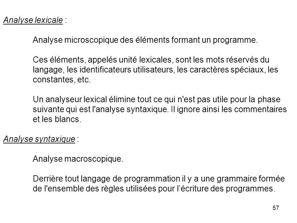 57 Analyse lexicale : Analyse microscopique des éléments formant un programme. Ces éléments, appelés unité lexicales, sont les mots réservés du langag