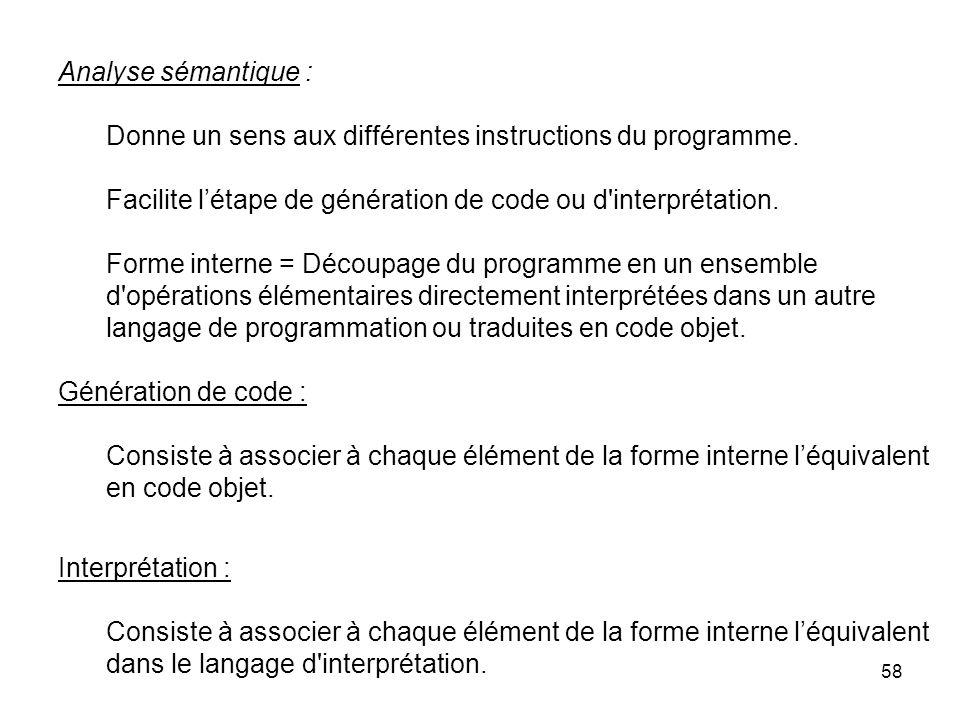 58 Analyse sémantique : Donne un sens aux différentes instructions du programme. Facilite létape de génération de code ou d'interprétation. Forme inte