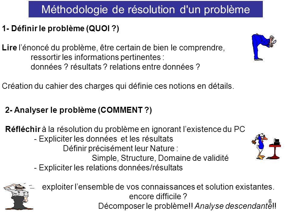 6 Méthodologie de résolution d'un problème 1- Définir le problème (QUOI ?) Lire lénoncé du problème, être certain de bien le comprendre, ressortir les