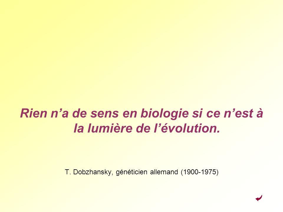 Rien na de sens en biologie si ce nest à la lumière de lévolution. T. Dobzhansky, généticien allemand (1900-1975)