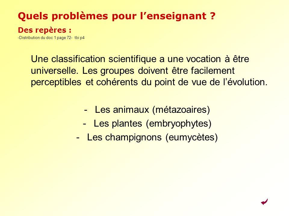 Quels problèmes pour lenseignant ? Des repères : -Distribution du doc 1 page 72- tbi p4 Une classification scientifique a une vocation à être universe