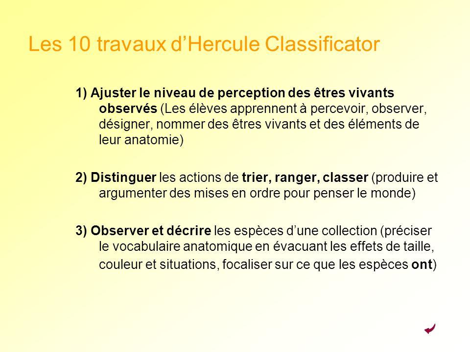 Les 10 travaux dHercule Classificator 1) Ajuster le niveau de perception des êtres vivants observés (Les élèves apprennent à percevoir, observer, dési