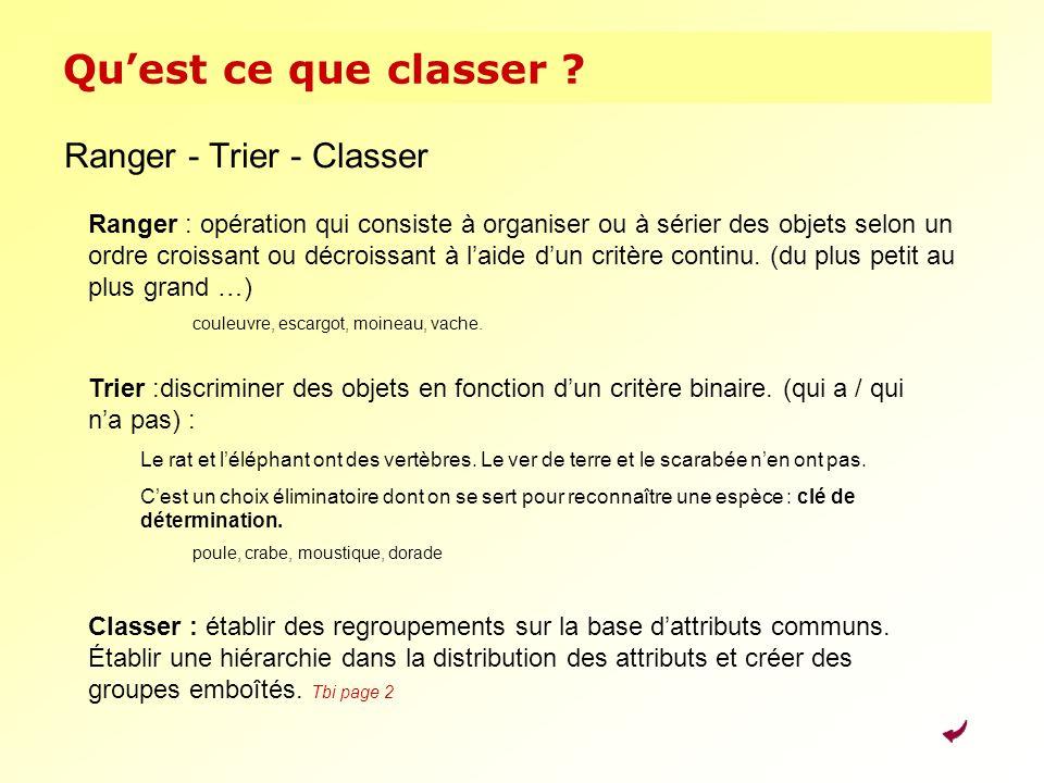 Quest ce que classer ? Ranger - Trier - Classer Ranger : opération qui consiste à organiser ou à sérier des objets selon un ordre croissant ou décrois