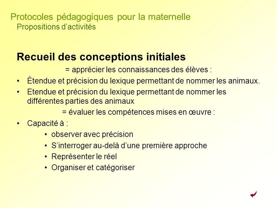 Recueil des conceptions initiales = apprécier les connaissances des élèves : Étendue et précision du lexique permettant de nommer les animaux. Etendue