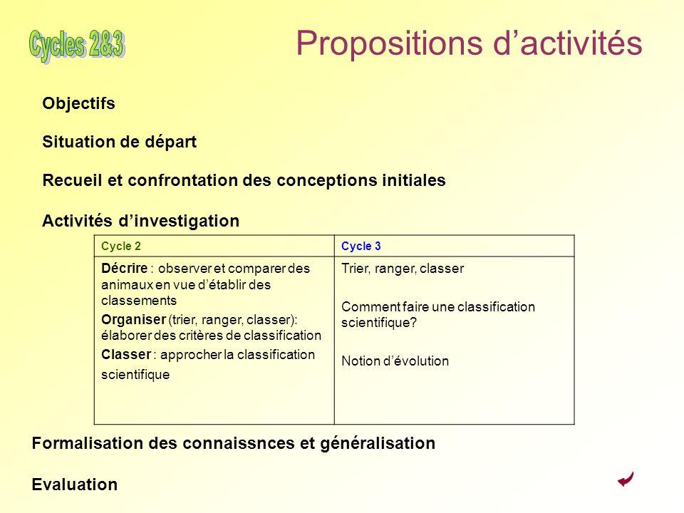 Propositions dactivités Objectifs Situation de départ Recueil et confrontation des conceptions initiales Activités dinvestigation Cycle 2Cycle 3 Décri