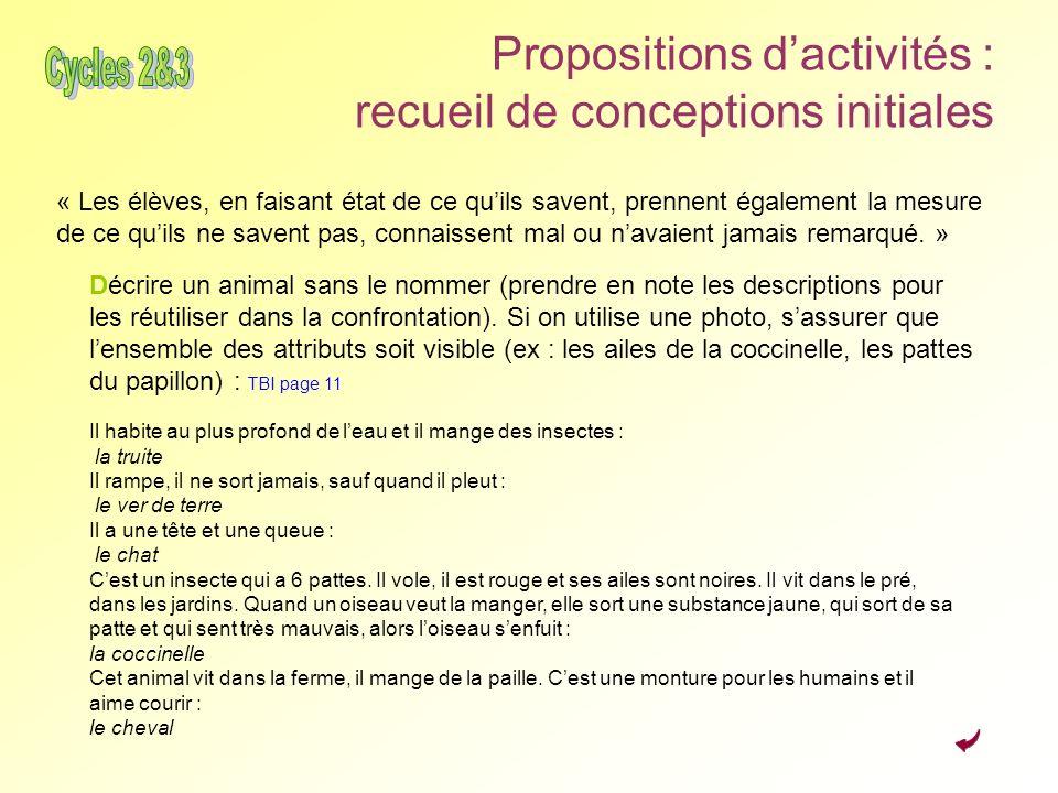 Propositions dactivités : recueil de conceptions initiales « Les élèves, en faisant état de ce quils savent, prennent également la mesure de ce quils