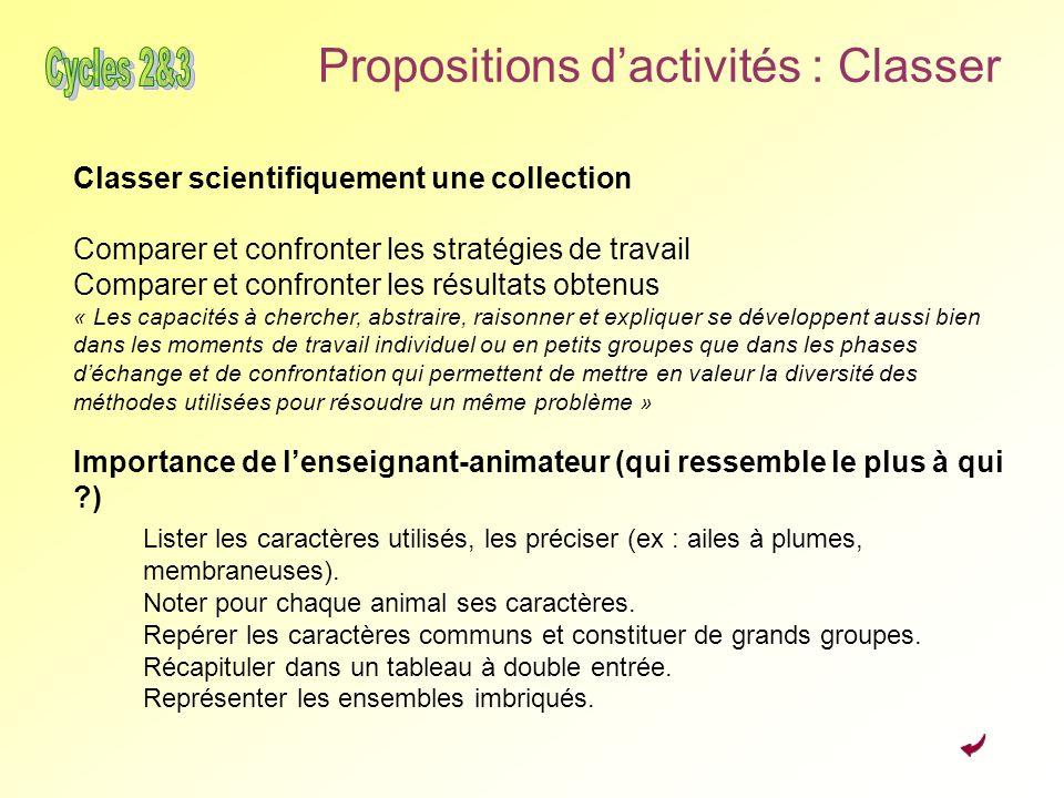 Propositions dactivités : Classer Classer scientifiquement une collection Comparer et confronter les stratégies de travail Comparer et confronter les