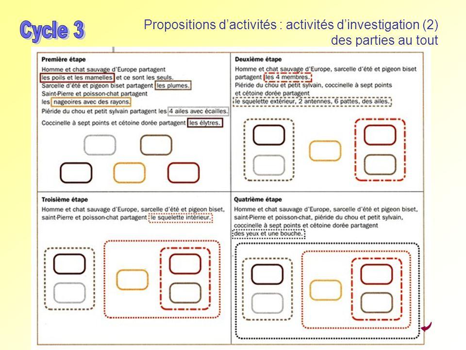 Propositions dactivités : activités dinvestigation (2) des parties au tout