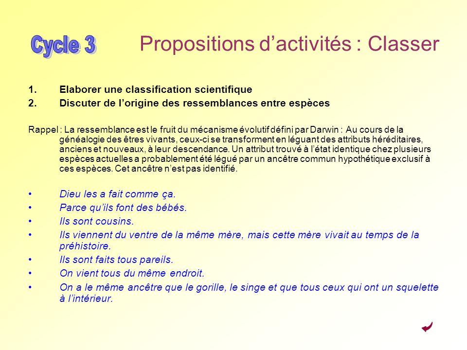 Propositions dactivités : Classer 1.Elaborer une classification scientifique 2.Discuter de lorigine des ressemblances entre espèces Rappel : La ressem