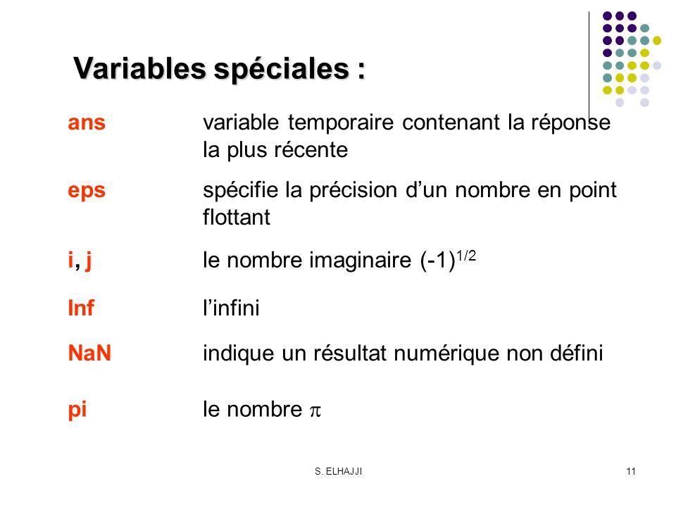 S. ELHAJJI11 Variables spéciales : ansvariable temporaire contenant la réponse la plus récente epsspécifie la précision dun nombre en point flottant i