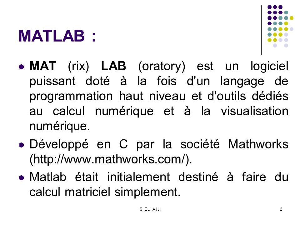S. ELHAJJI2 MATLAB : MAT (rix) LAB (oratory) est un logiciel puissant doté à la fois d'un langage de programmation haut niveau et d'outils dédiés au c