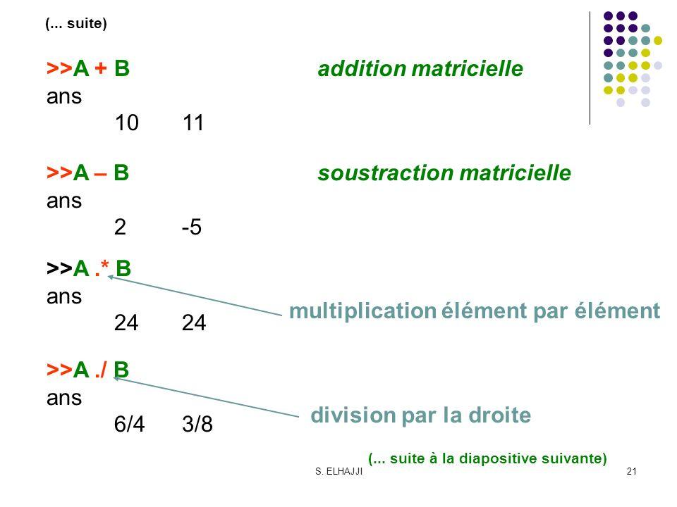 S. ELHAJJI21 >>A + Baddition matricielle ans 1011 (... suite) >>A – Bsoustraction matricielle ans 2-5 >>A.* B ans24 >>A./ B ans 6/43/8 multiplication