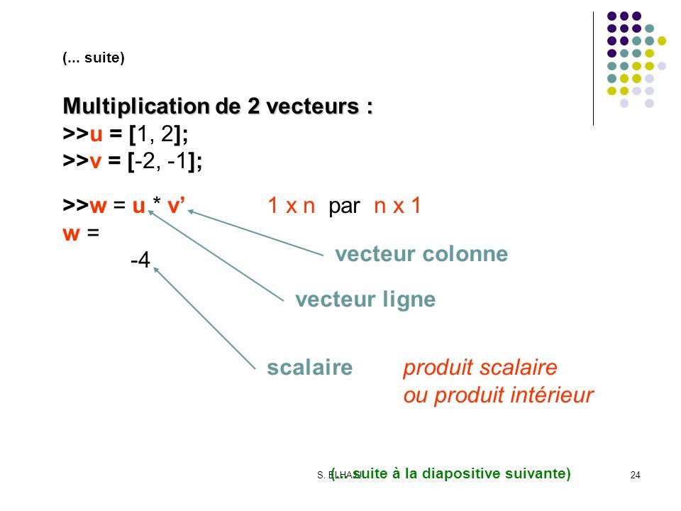 S. ELHAJJI24 (... suite) Multiplication de 2 vecteurs : >>u = [1, 2]; >>v = [-2, -1]; >>w = u * v1 x n par n x 1 w = -4 vecteur colonne vecteur ligne
