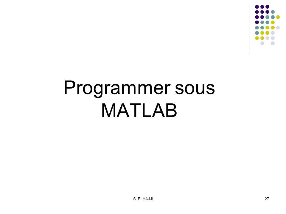 S. ELHAJJI27 Programmer sous MATLAB