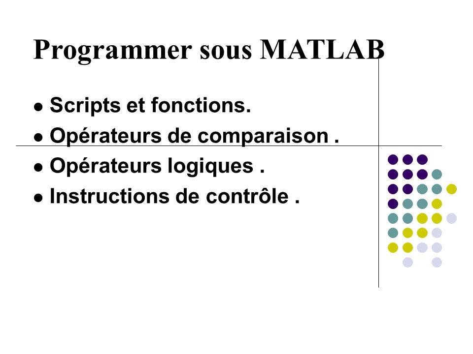 Scripts et fonctions. Opérateurs de comparaison. Opérateurs logiques. Instructions de contrôle.
