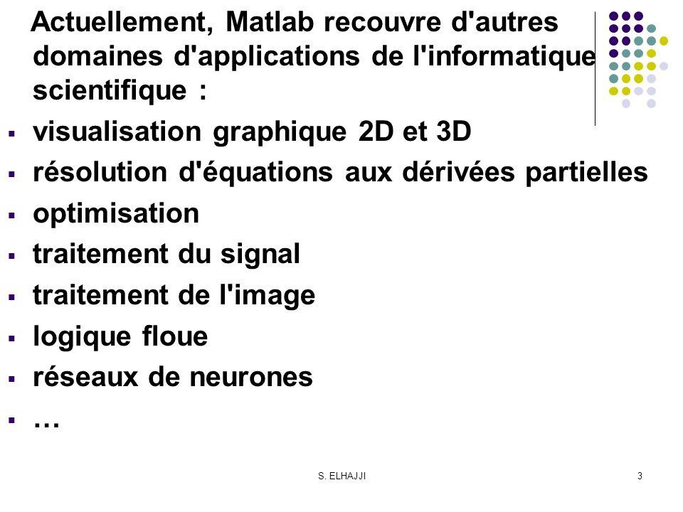 S. ELHAJJI3 Actuellement, Matlab recouvre d'autres domaines d'applications de l'informatique scientifique : visualisation graphique 2D et 3D résolutio
