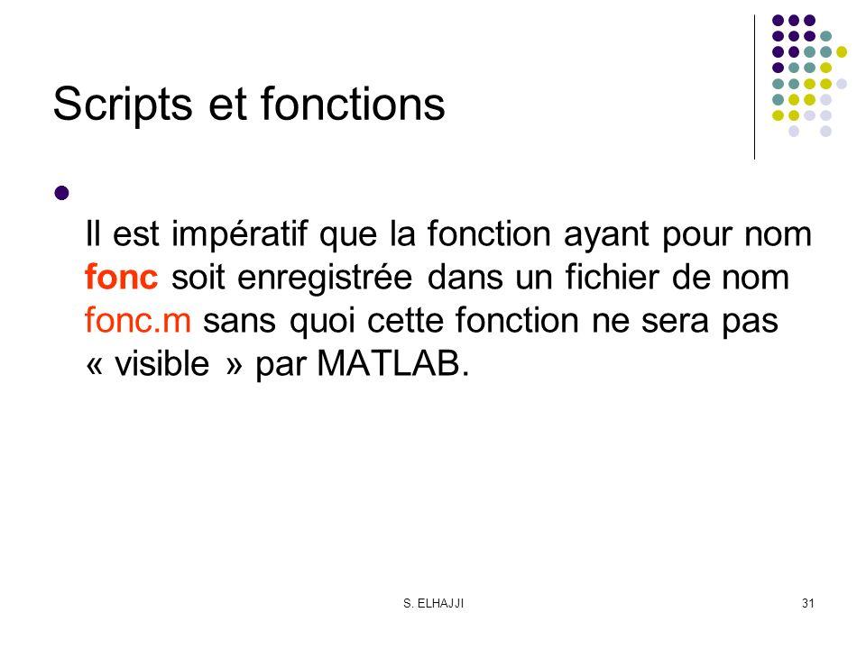 S. ELHAJJI31 Scripts et fonctions Il est impératif que la fonction ayant pour nom fonc soit enregistrée dans un fichier de nom fonc.m sans quoi cette