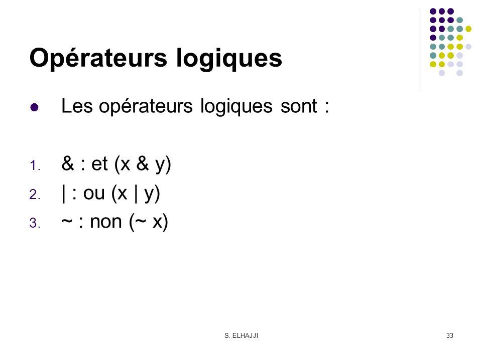 S. ELHAJJI33 Opérateurs logiques Les opérateurs logiques sont : 1. & : et (x & y) 2. | : ou (x | y) 3. ~ : non (~ x)