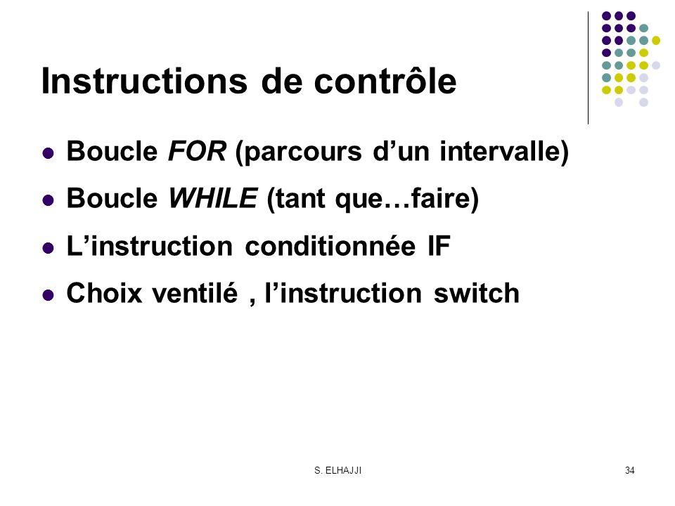 S. ELHAJJI34 Instructions de contrôle Boucle FOR (parcours dun intervalle) Boucle WHILE (tant que…faire) Linstruction conditionnée IF Choix ventilé, l