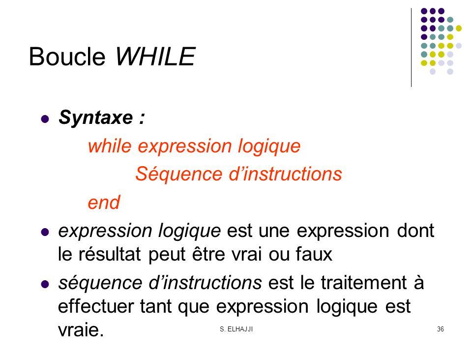 S. ELHAJJI36 Boucle WHILE Syntaxe : while expression logique Séquence dinstructions end expression logique est une expression dont le résultat peut êt