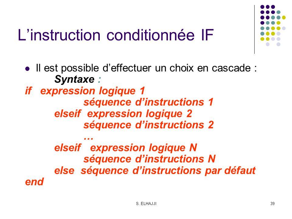S. ELHAJJI39 Linstruction conditionnée IF Il est possible deffectuer un choix en cascade : Syntaxe : if expression logique 1 séquence dinstructions 1