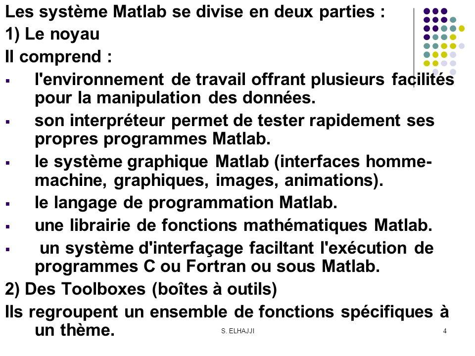 S. ELHAJJI4 Les système Matlab se divise en deux parties : 1) Le noyau Il comprend : l'environnement de travail offrant plusieurs facilités pour la ma