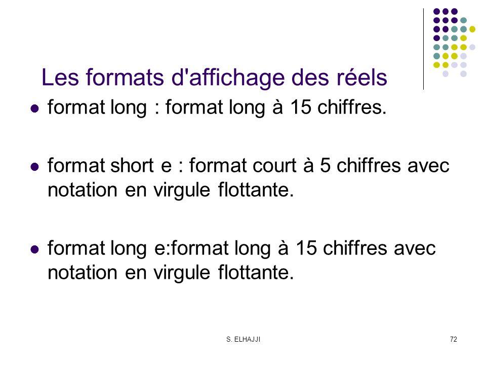 S. ELHAJJI72 Les formats d'affichage des réels format long : format long à 15 chiffres. format short e : format court à 5 chiffres avec notation en vi