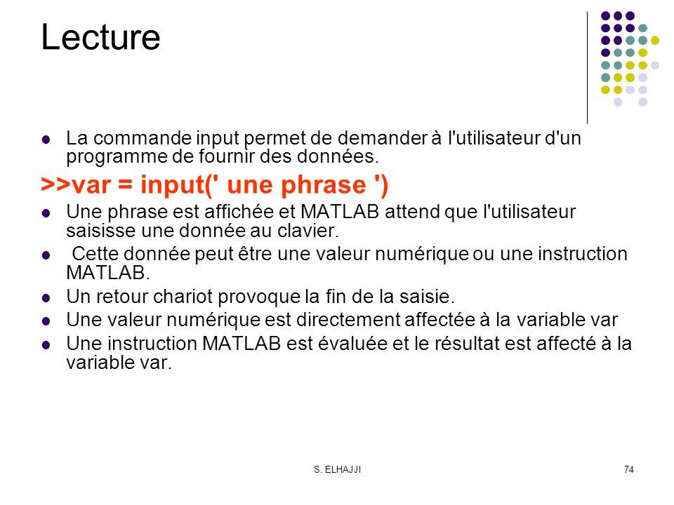 S. ELHAJJI74 Lecture La commande input permet de demander à l'utilisateur d'un programme de fournir des données. >>var = input(' une phrase ') Une phr