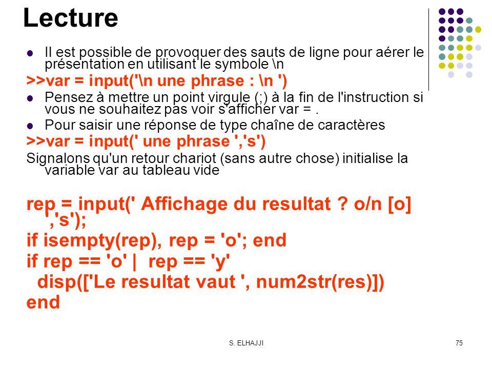 S. ELHAJJI75 Lecture Il est possible de provoquer des sauts de ligne pour aérer le présentation en utilisant le symbole \n >>var = input('\n une phras