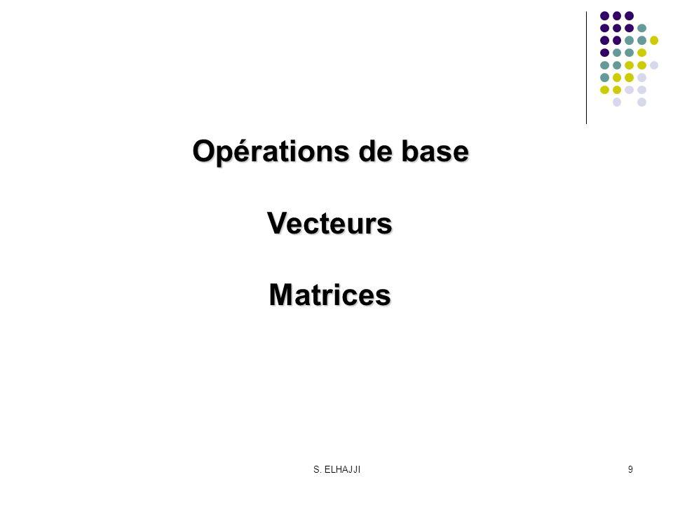 S. ELHAJJI9 Opérations de base VecteursMatrices