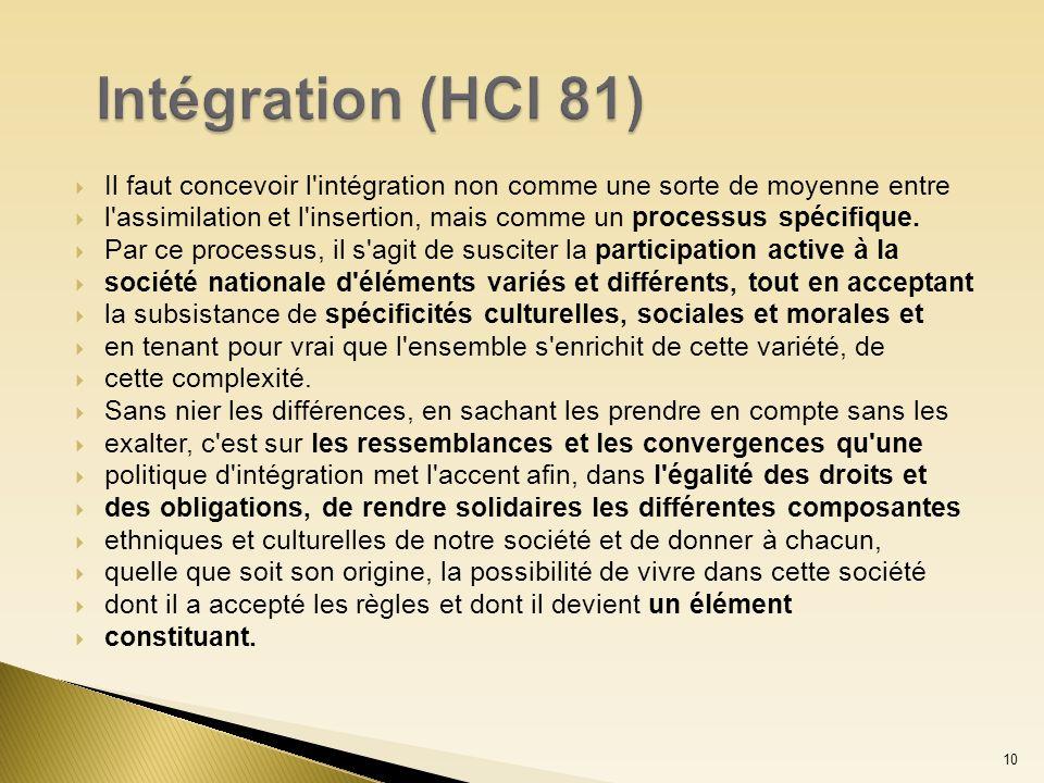 Il faut concevoir l'intégration non comme une sorte de moyenne entre l'assimilation et l'insertion, mais comme un processus spécifique. Par ce process