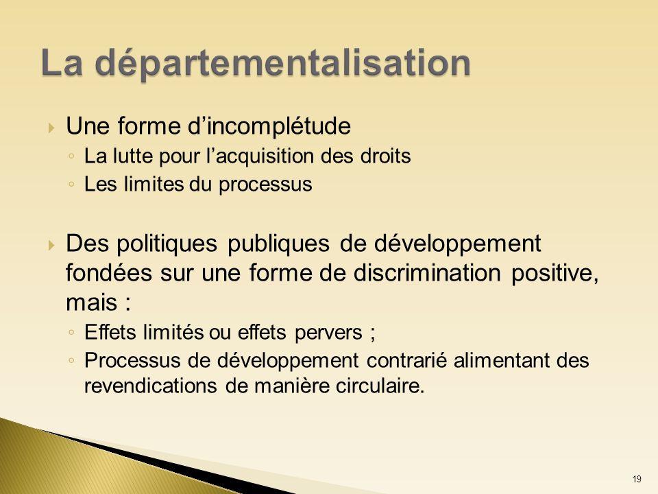 Une forme dincomplétude La lutte pour lacquisition des droits Les limites du processus Des politiques publiques de développement fondées sur une forme