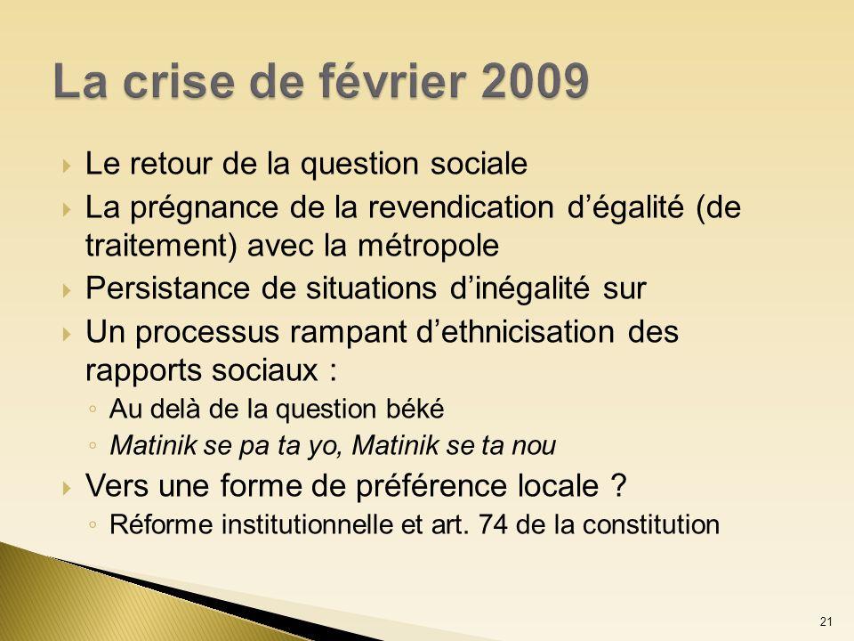 Le retour de la question sociale La prégnance de la revendication dégalité (de traitement) avec la métropole Persistance de situations dinégalité sur