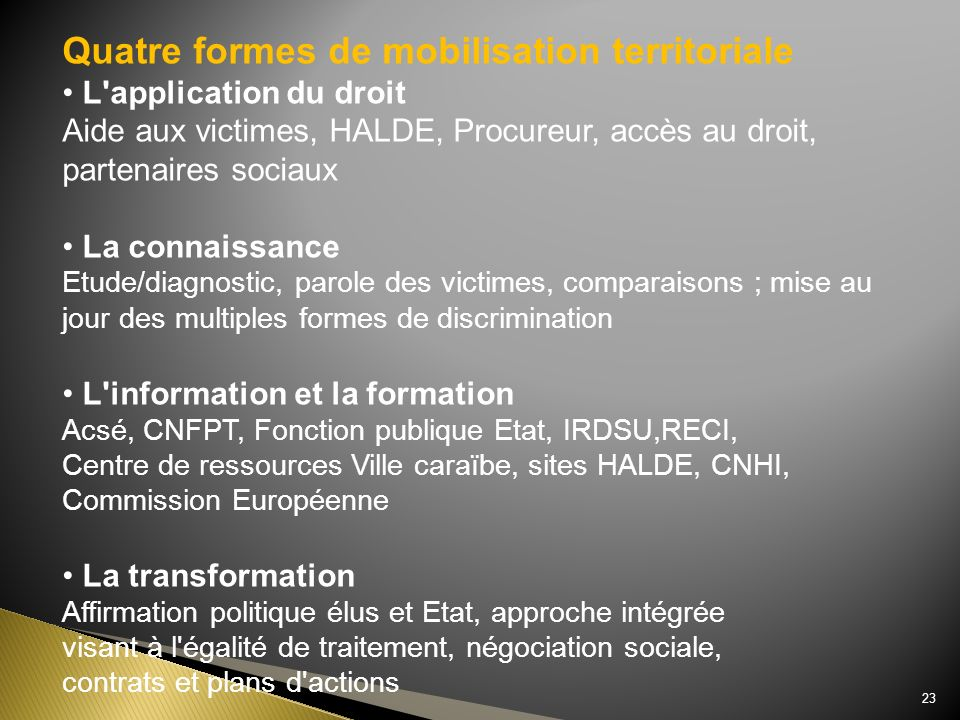 Quatre formes de mobilisation territoriale L'application du droit Aide aux victimes, HALDE, Procureur, accès au droit, partenaires sociaux La connaiss
