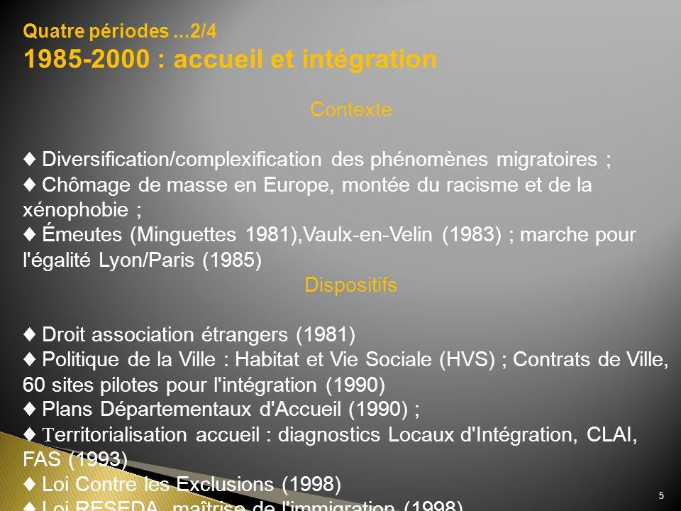 Quatre périodes...2/4 1985-2000 : accueil et intégration Contexte Diversification/complexification des phénomènes migratoires ; Chômage de masse en Eu